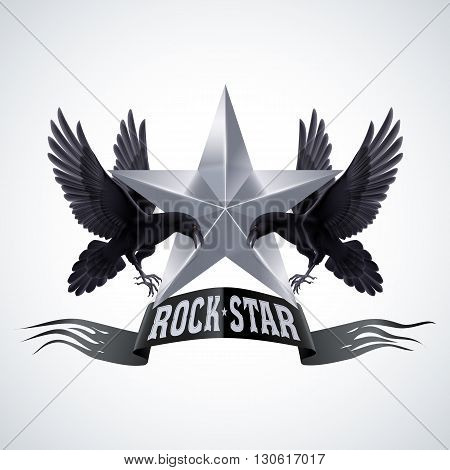 Black-and-white Rock Star banner with two ravens