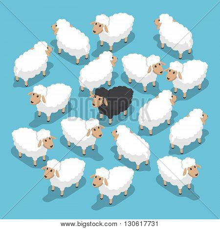 Isometric Black Sheep In The Flock