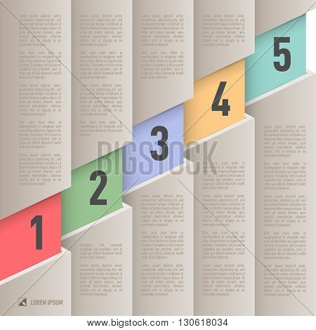 Infographics in old paper style with ascending colored numbered items from one to five