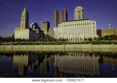 Reflections of Columbus, Ohio in the Scioto River
