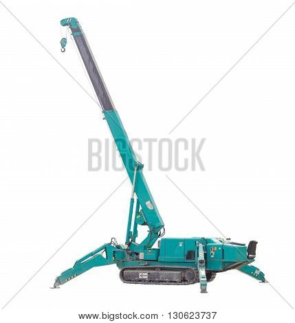 Self propelled crane mounted on crawlers carrier with telescoping boom on a light background