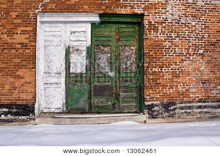 Green And White Doors