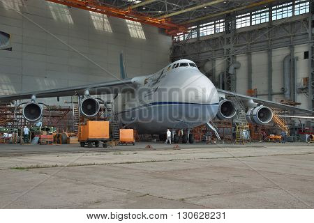 Kiev Ukraine - August 3 2011: Antonov An-124 Ruslan cargo plane being checked and maintenanced in hangar