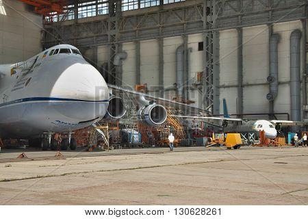 Kiev Ukraine - August 3 2011: Antonov An-124 Ruslan cargo plane being maintenanced in service hangar