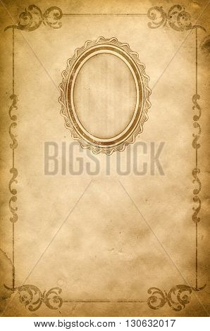 Grunge paper with decorative vintage border old-fashioned frame and copy space for the text. Vintage paper texture.