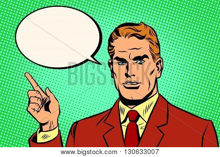 Male index finger pop art retro pop art retro vector. Male poster of the announcement. Retro poster man vector. Pop art man