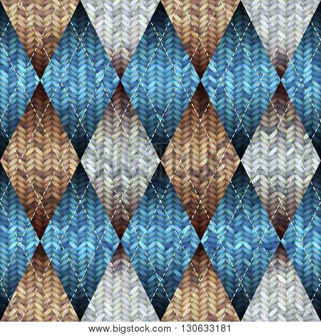Seamless knitted pattern with the argyle pattern