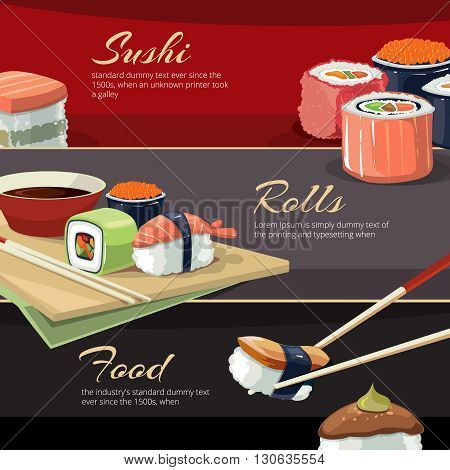 Web banners with vector illustrations of Sushi rolls flat food and  japanese seafood sushi rolls. Sushi rolls traditional seaweed fresh raw food. poster