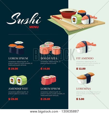 Sushi rolls flat food and  japanese seafood sushi rolls. Sushi rolls traditional seaweed fresh raw food. Asia cuisine menu poster