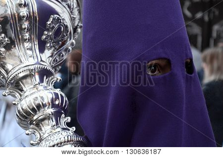 Penitent woman at Holy Wednesday procession. Córdoba. Spain.
