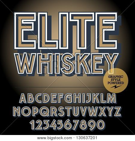 Retro styled set of alphabet letters, numbers and punctuation symbols. Vintage label with text Elite whiskey