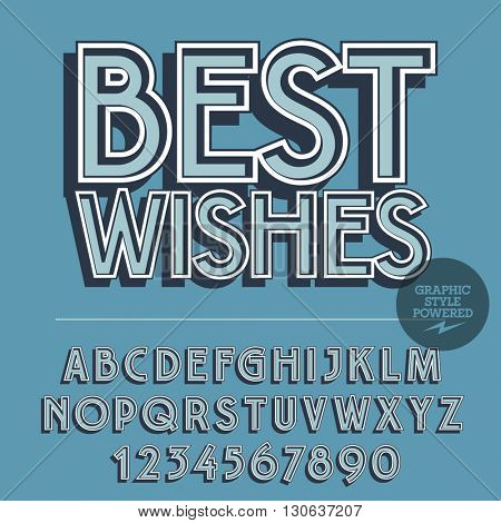 Retro styled set of alphabet letters, numbers and punctuation symbols. Vintage greeting card with text Best wishes