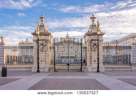 MADRID,SPAIN - APRIL 25,2016 - Gate to Royal Palace of Madrid .The Royal Palace (Palacio Real) is the official residence of the Spanish Royal Family at the city of Madrid but is only used for state ceremonies.