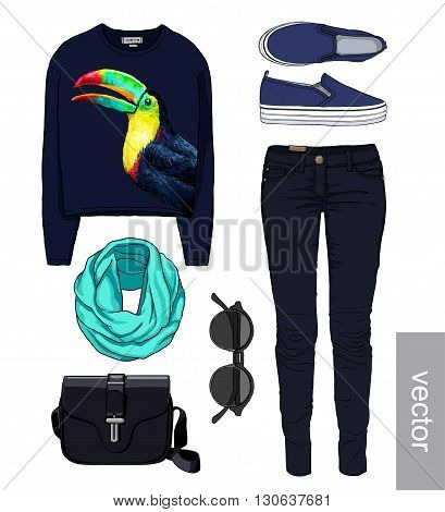 Lady fashion set of autumn, winter season outfit. Illustration stylish and trendy clothing. Denim, slip-on, jeans, bag. Paradise, tropical, exotic toucan. Vector