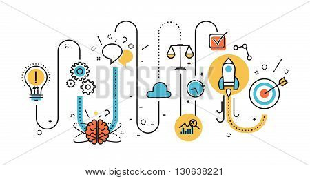 Flat line illustration of graph born business project startup process from idea to success for website banner and landing page infographics logo and icon. Concept for printed materials