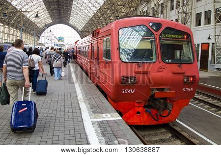 MOSСOW, Russia  May 18 2013, Aeroexpress in Kiev railway station platforms, Moscow