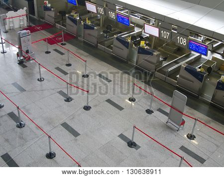 MOSKOW, Russia - May 18 2013, Registration Hall of Vnukovo Airport, Russia