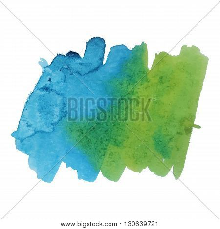 Watercolor brushstroke background green blue color. Grunge element for scrapbook, decoration and design cards and flyers. A model for the creation of digital brushes