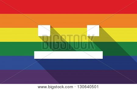Long Shadow Gay Pride Flag With A Emotionless Text Face
