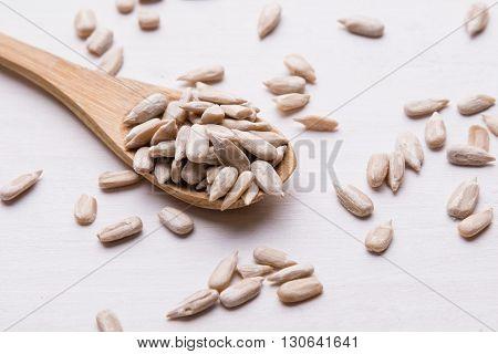 Sunflower Seeds On Wooden Spoon