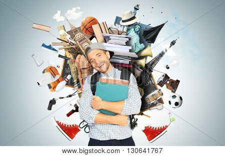 Education, a stack of books and magazines with the student