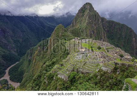 View Of The Lost Incan City Of Machu Picchu And Huayna Picchu Mountain From Machu Picchu Mountain .l