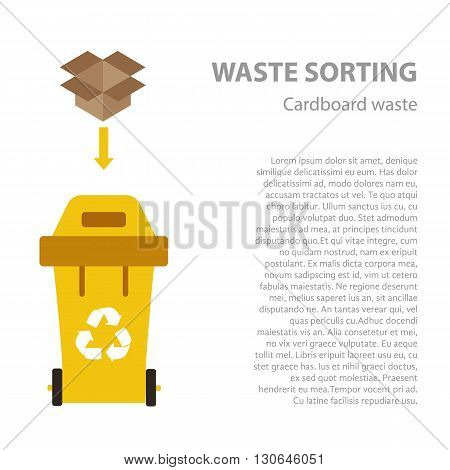 Paper waste sorting flat concept.  Vector illustration of paper waste. Paper waste recycling categories and garbage disposal. Paper waste types sorting management .