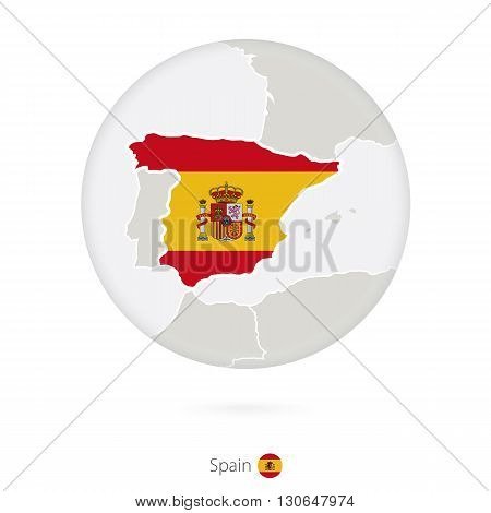 Map Of Spain And National Flag In A Circle.
