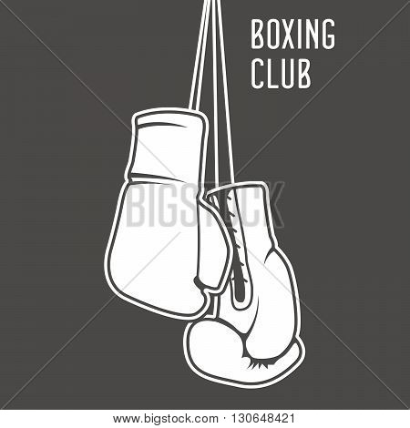 Boxing club poster with boxing gloves and banner