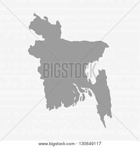 Bangladesh map in gray on a white background