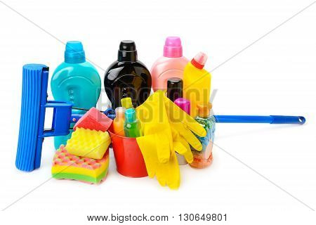 household chemicals protective gloves and a mop isolated on white background