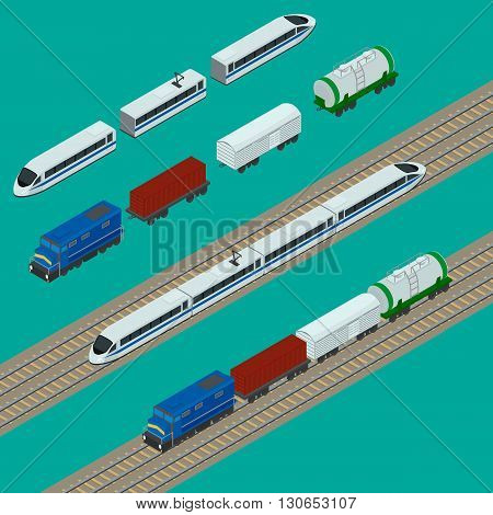 vector illustration. Set train icons. Passenger fast train the locomotive boxcar container tank. isometric infographic.