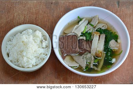 boiled pork blood and entrails in soup eat with rice