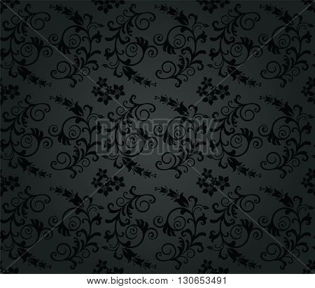 Seamless luxury charcoal round foliage wallpaper pattern. This image is a vector illustration.