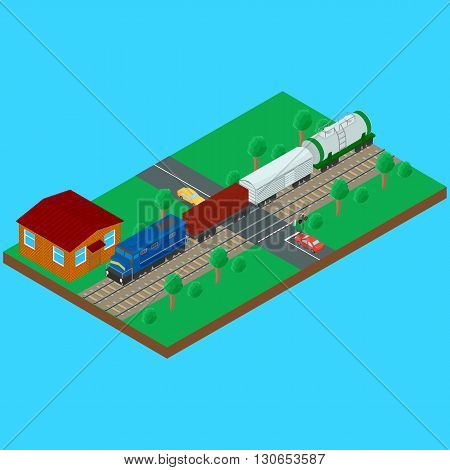 Vector illustration. Railroad crossing freight train carries a tank container wagon. Semaphore and the sign railroad crossing with a barrier. House caretaker. Infographics isometrics