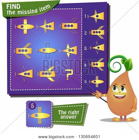 Visual Game for children. Find the missing item