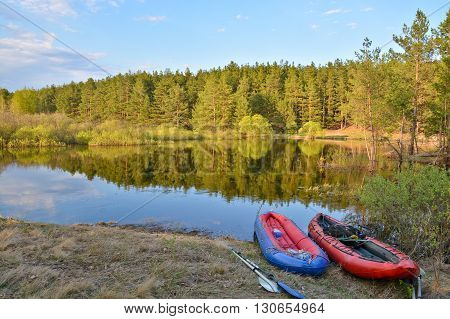 The journey on the river of the national Park. Tourist boat on the spring river in Central Russia.