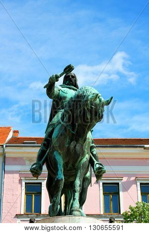 A statue of Janos Hunyadi on Szechenyi Square in Pecs Hungary