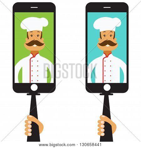 Monopod Selfie with cartoon chef .Vector illustration