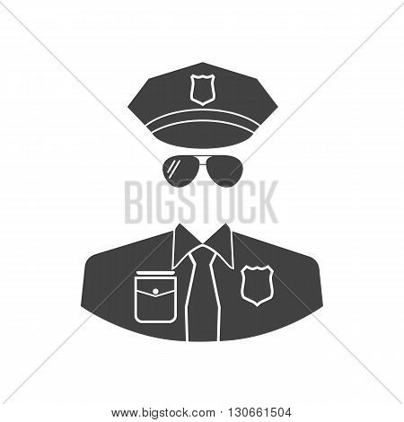Cop icon vector. Isolated icon black cop on a white background. Police icon vector. Police officer icon.