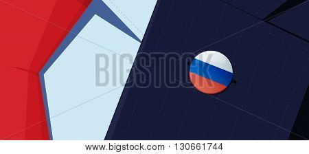 Russia flag lapel pin on man's suit jacket lapel. Transparency used. EPS10 file.