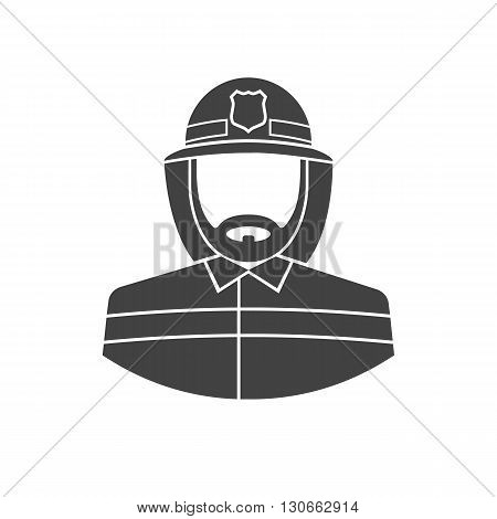 Fireman icon. Black icon fireman on white background. Vector illustration. Silhouette of a firefighter in uniform.