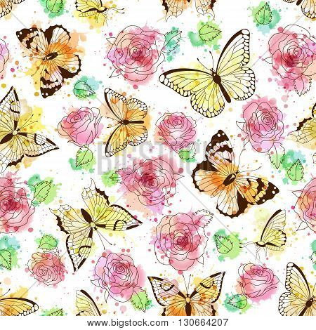 Seamless pattern with silhouettes of butterflies and roses. Vector imitation of watercolor spots. Hand drawn vector illustration. Perfect for greetings invitations manufacture wrapping paper textile wedding and web design.