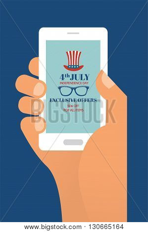 4th of July Exclusive Online Offers Sale.  hand holding a phone