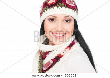 Pretty Smiley Woman In Hat And Scarf
