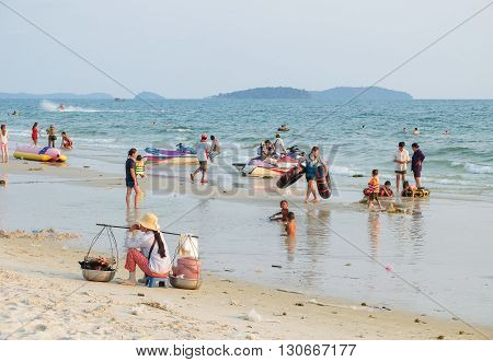 Sihanoukville Cambodia - March 19 2015 : People relaxing on the beach in Sihanoukville