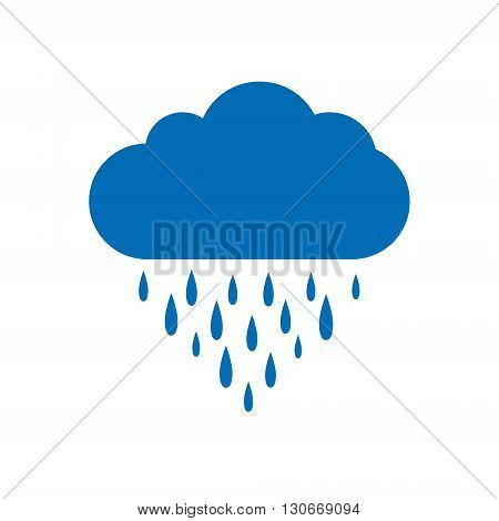 Rain icon, Rain cloud, Blue Rain Cloud, Cloud and rain drops, Cloud icon, Rain icon on a white background.