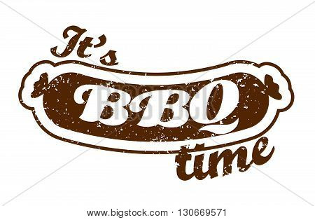 Vector. Grill sausage: It's Barbecue time! Summer BBQ. BBQ season. BBQ poster. Summer Picnic outdoor. Family BBQ day. BBQ related goods adv. Grill meat. Isolated illustration cookout. Barbecue retro