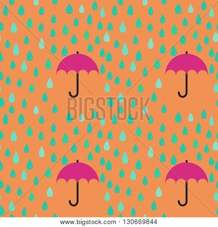 Rain drops and umbrella seamless pattern background; editable color background.
