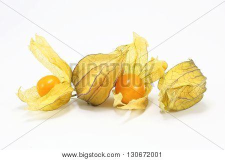 Yellow orange gooseberry golden berry on white background